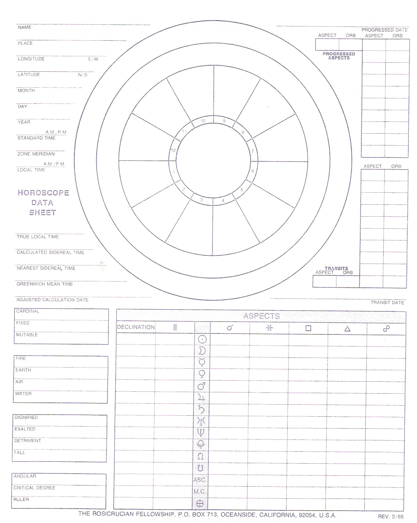 Blank astrology wheel blank with data and worksheet 2 sided front and back nvjuhfo Gallery